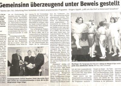 1999 Zeitungsartikel 700 Jahrfeier Langenscheid