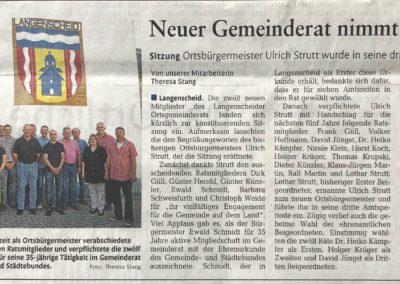2014 Zeitungsartikel Neuer Gemeinderat