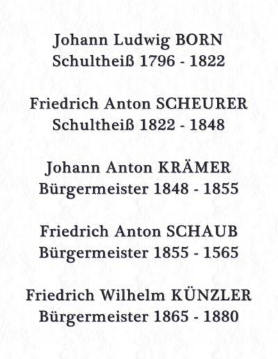Schultheiße und Bürgermeister von 1796-1880